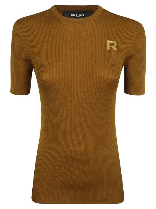 Rochas Logo Embroidered 3 Quarter Length Sleeve Sweater