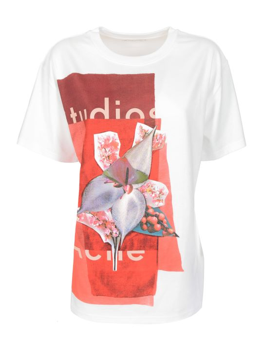 Acne Studios Flower And Logo Print T-shirt