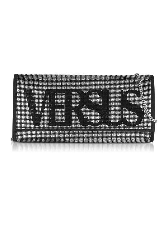Versus Versace Versace Versus Vintage Logo Envelope Crystals And Suede Clutch