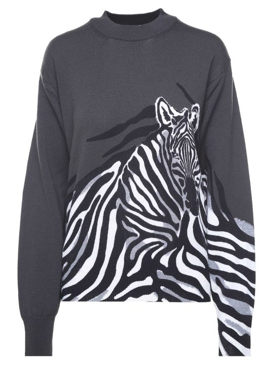 Krizia Zebra-intarsia Wool-knit Oversized Sweater