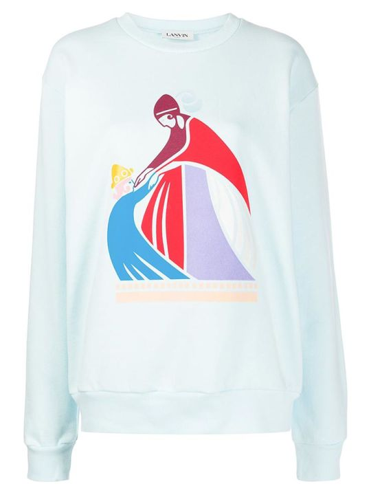 Lanvin Sweatshirt In Cyan Cotton