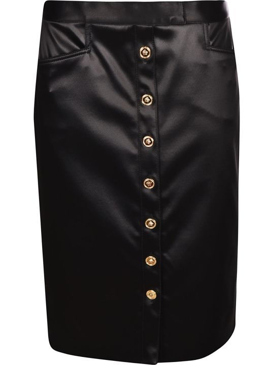 Versace Medusa Button Pencil Skirt