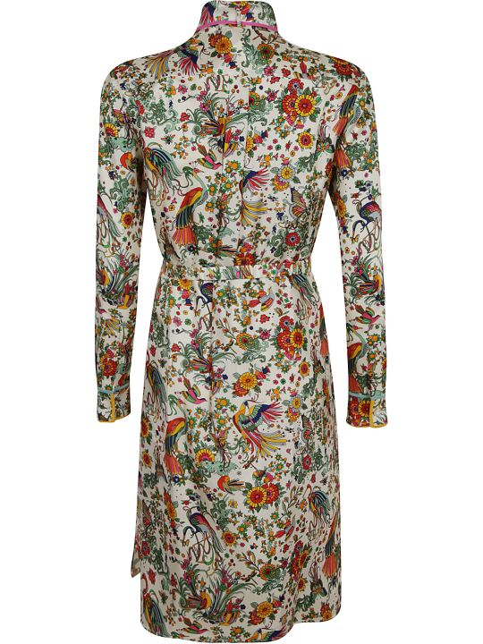 Tory Burch Contrast Binding Printed Shirt Dress