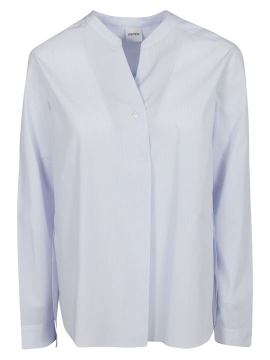 Aspesi Slim Striped Band Collar Shirt