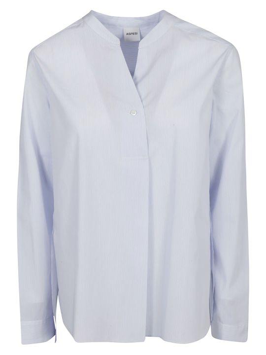 Aspesi Slim Striped Band Collar Shirt
