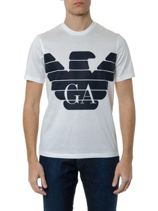 Emporio Armani White Cotton T Shirt With Blue Logo Print