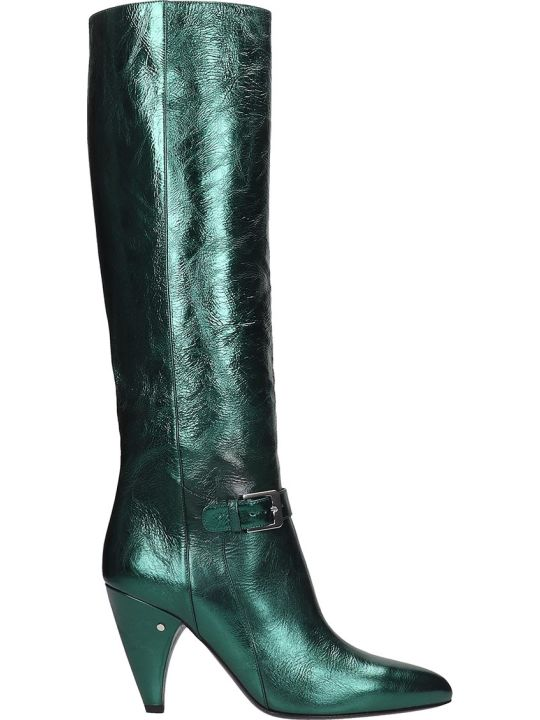 Laurence Dacade Vlad High Heels Boots In Green Leather