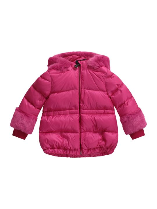 Moncler Fucshia Babygirl Jacket With Iconic Patch