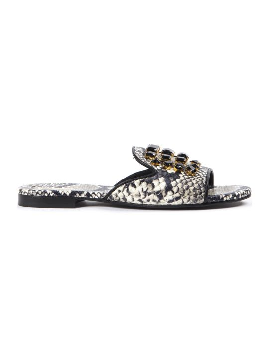 Emanuela Caruso Stone Embellished Python Leather Sandals