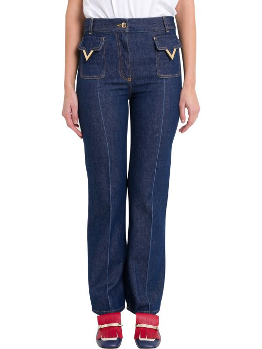 Valentino Slighly Flared Jeans Metallic V