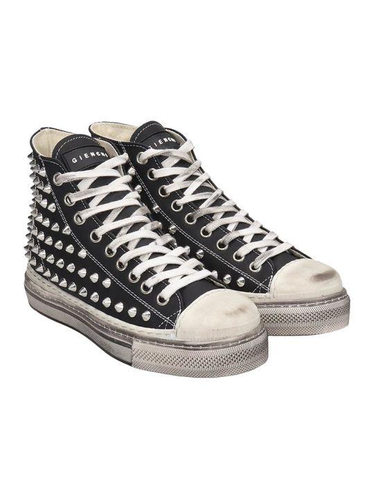 Gienchi J.m.high Sneakers In Black Rubber/plasic