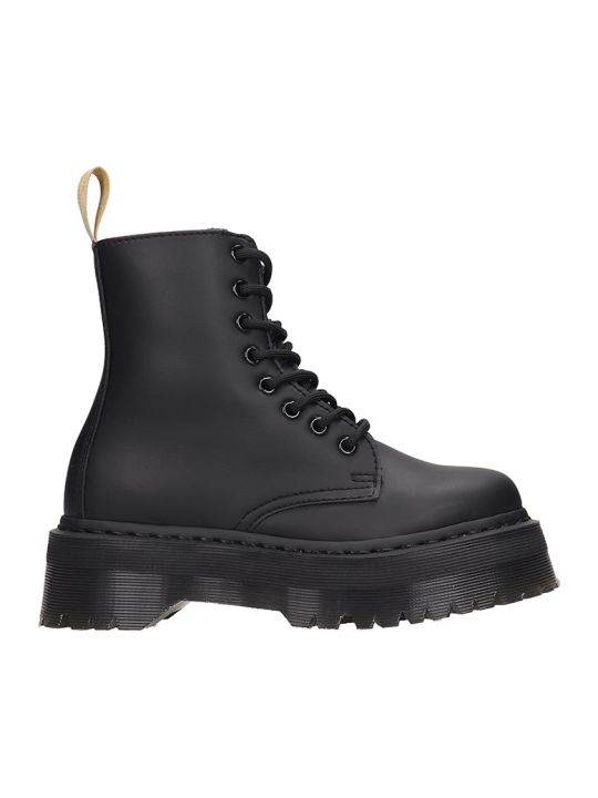Dr. Martens Jadon Ii Mono Combat Boots In Black Leather