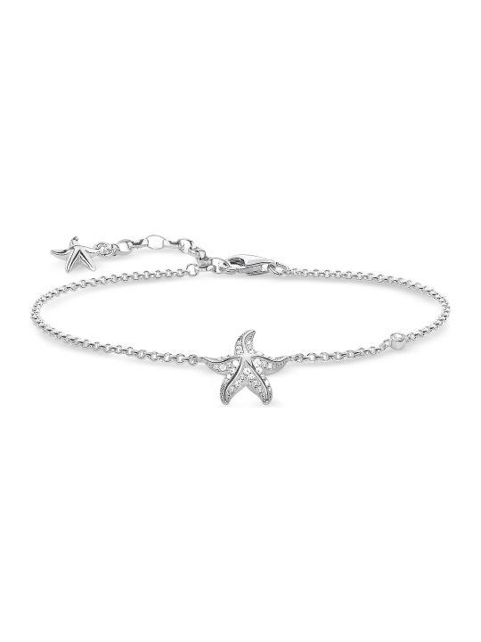 Thomas Sabo Sterling Silver Starfish Bracelet W/white Zirconia
