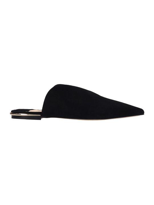 Jimmy Choo Black Suede Tahla Flat Sandals