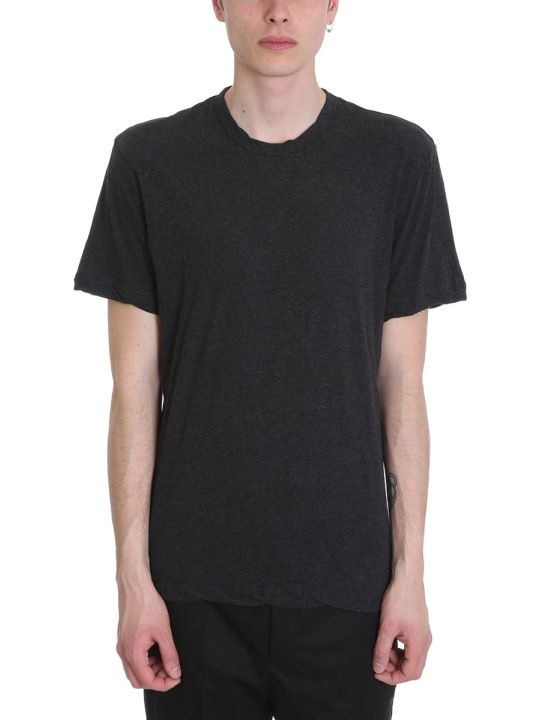 James Perse Grey Melange Cotton T-shirt