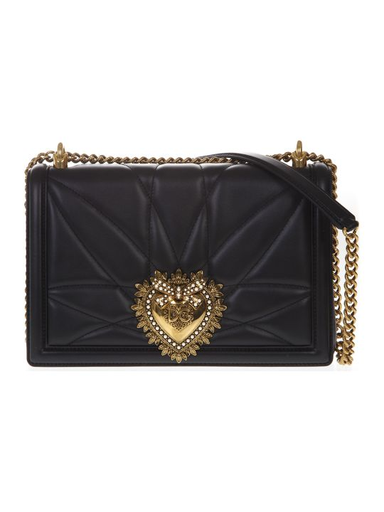 Dolce & Gabbana Black Large Devotion Bag In Quilted Nappa Leather