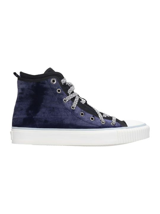 Lanvin Mid Top  Sneakers In Blue Velvet