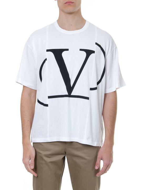Valentino White Cotton V Logo T Shirt