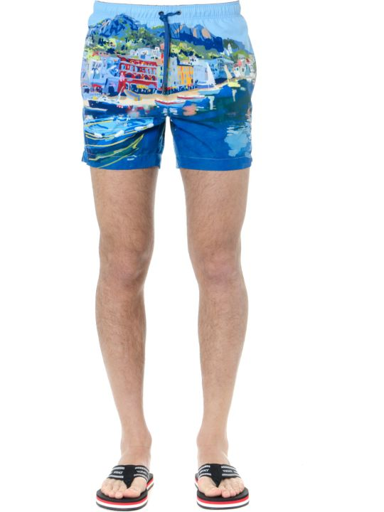 Ermenegildo Zegna Blue Printed Swim Shorts