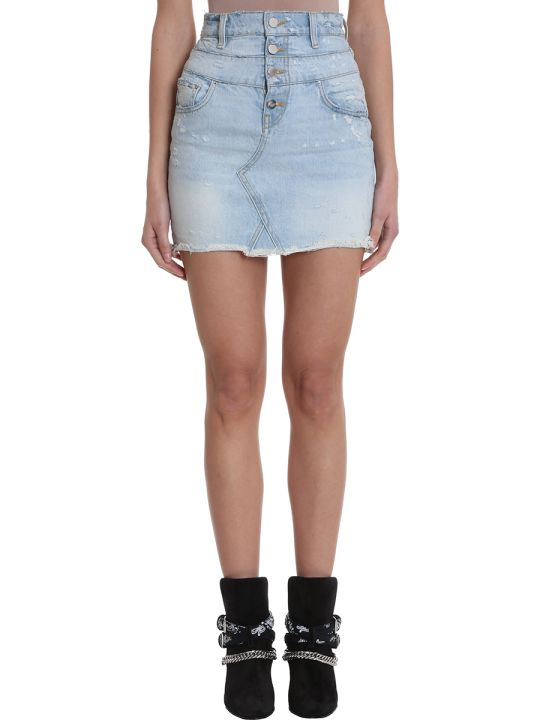 AMIRI Double Waist Blue Light Denim Skirt