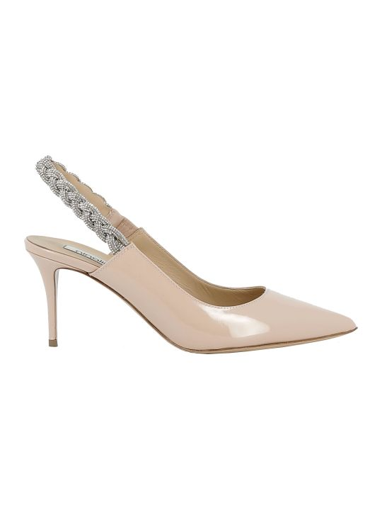 Ninalilou Beige/strass Patent Leather Sandals