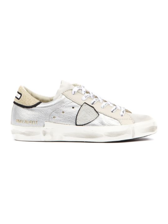 Philippe Model Prsx Silver Metallic Leather Sneakers