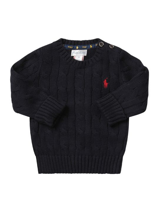 Ralph Lauren Blue Babyboy Sweater With Red Pony Logo