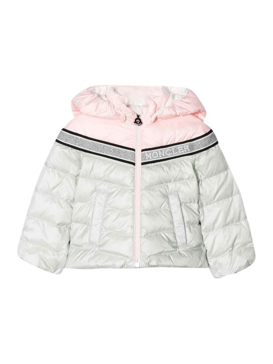 Moncler White And Light Pink Lightweight Jacket