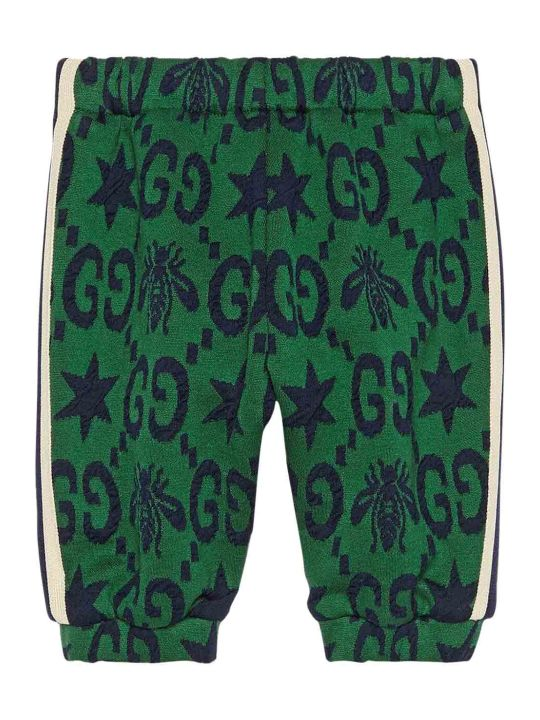 Gucci Green Trousers With Blue Logo Trama