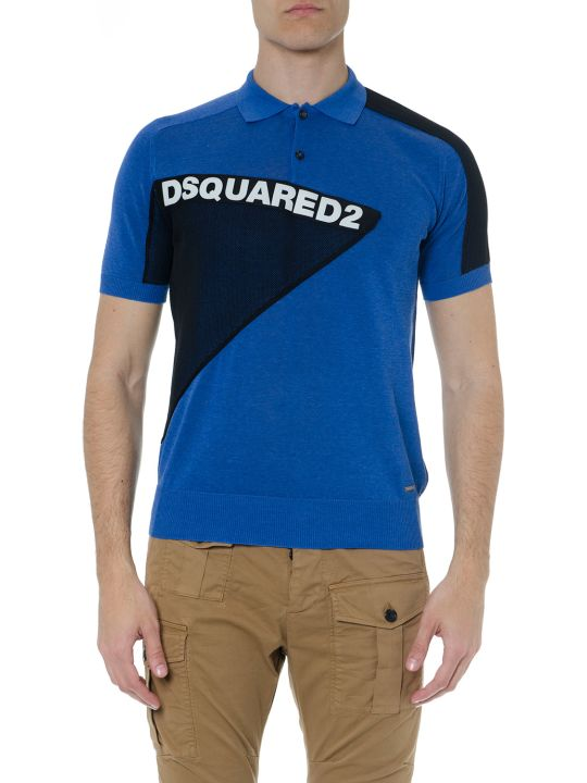 Dsquared2 Blue & Black Cotton Logo Polo Shirt