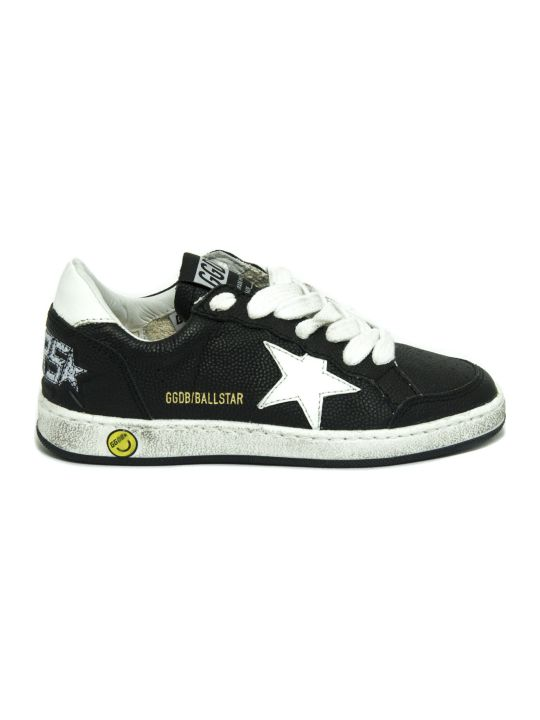 Golden Goose Black Leather Ballstar Lace-up Sneakers