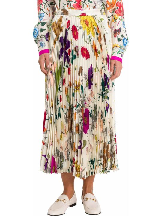 Gucci Flora Pleated Skirt