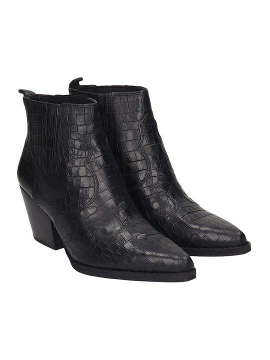 Sam Edelman Winona Texan Ankle Boots In Black Leather