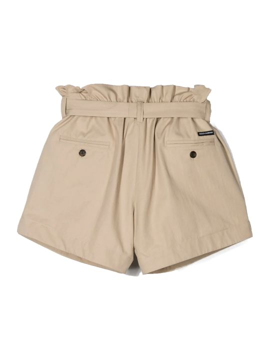 Dolce & Gabbana Beige Cotton Paperbag Shorts