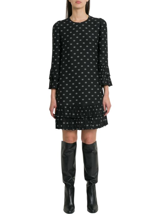 Valentino Monogram Printed Short Dress With Flounces And Ruffles
