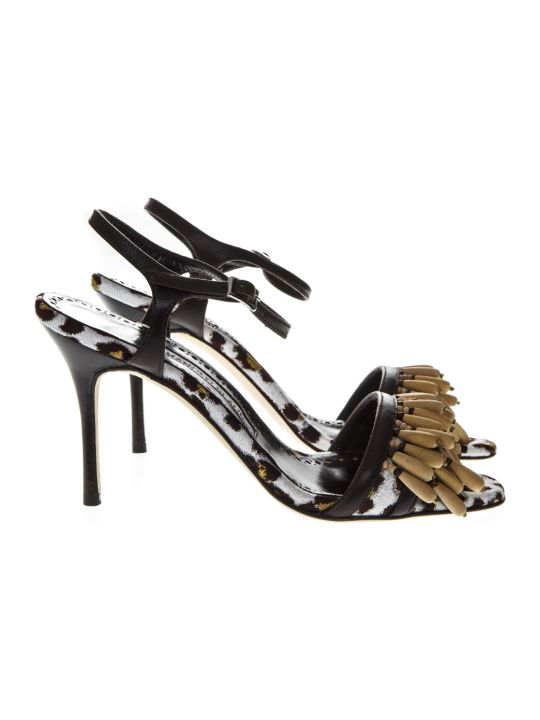 Manolo Blahnik Leopard Print Sandals In Fabric And Leather
