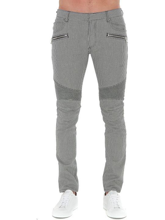 Balmain Logo Checked Jeans