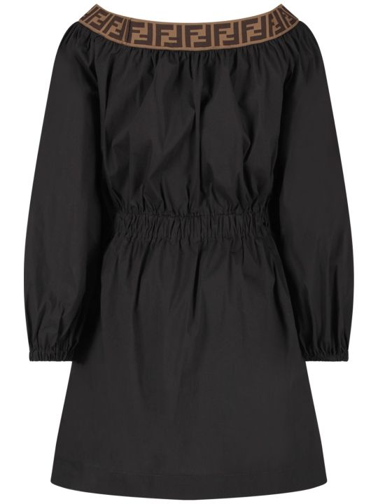 Fendi Black Girl Dress With Double Ff