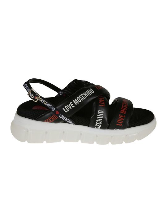 Love Moschino Logo Strap Sling-back Sandals