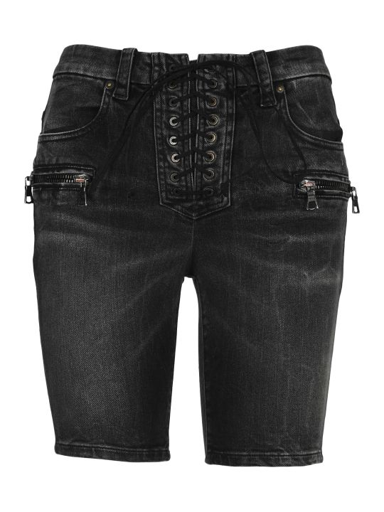 Ben Taverniti Unravel Project Unravel Laced Denim Shorts