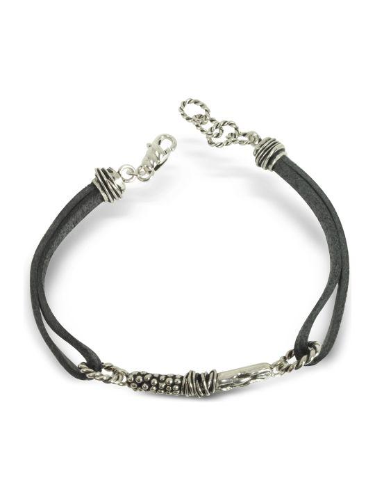 GIACOMOBURRONI Giacomo Burroni Leather Bracelet W/bar