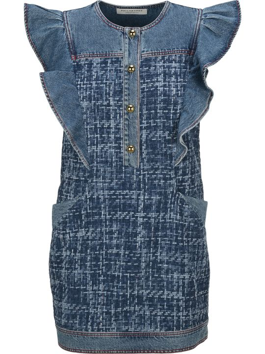 Philosophy di Lorenzo Serafini Philosophy Ruffled Denim Dress