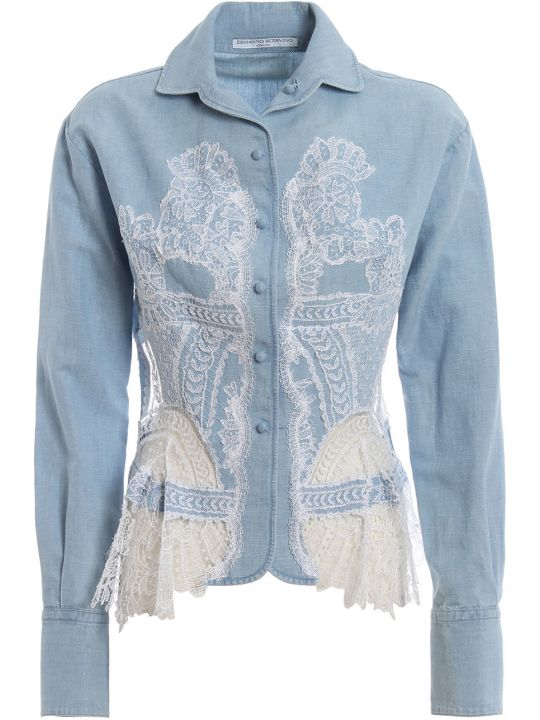 Ermanno Scervino Denim Lace Shirt