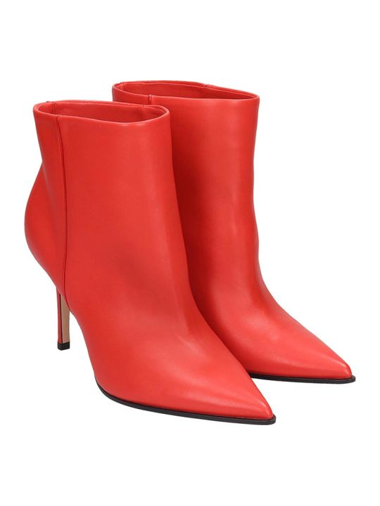 Lerre High Heels Ankle Boots In Red Leather