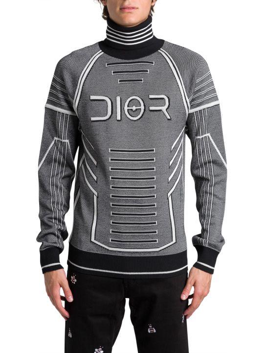 Dior Homme Jacquard Wool Turtleneck Sweater