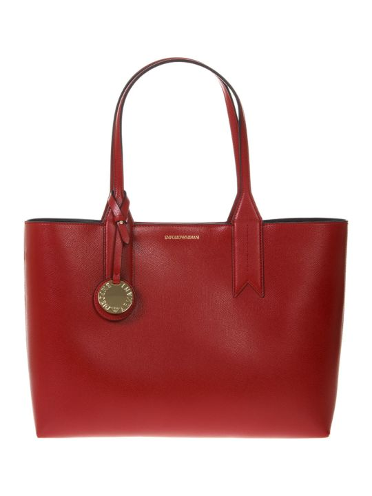Emporio Armani Red Shopper In Faux Leather With Logo Charm