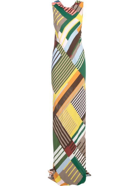 Rick Owens Skorpio Gown Dress Long W/print Viscose