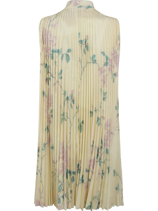 RED Valentino Pleated Floral Print Sleeveless Dress