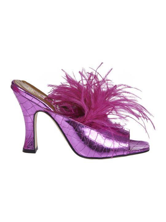 Paris Texas Pink Sabot With Feathers