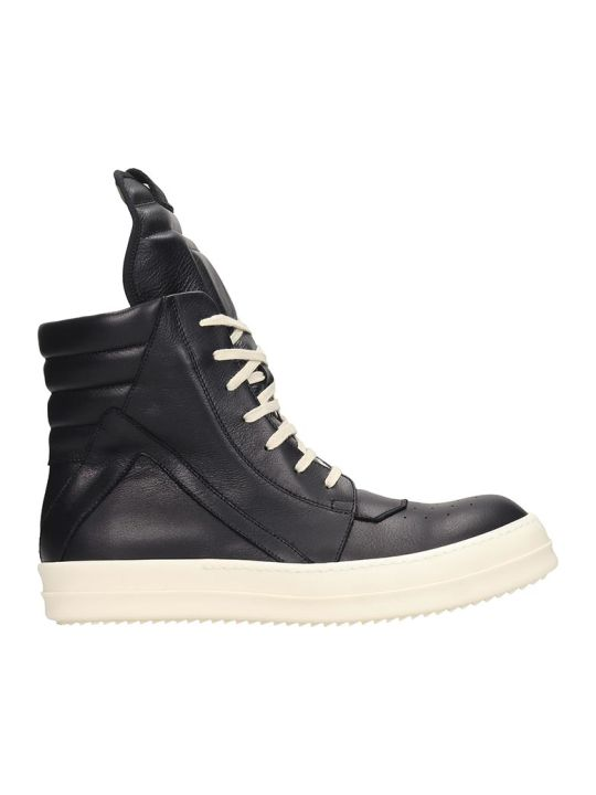 Rick Owens Geobasket Sneakers In Black Leather